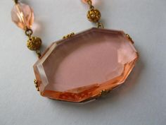 A blush pink vintage Art Deco Czech glass necklace from the 1930's.