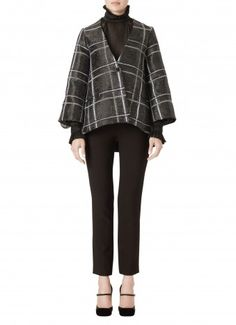 Metallic Wool Plaid Jacket