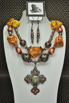ORANGE CHUNKY WESTERN Style Cowgirl Statement Bold Necklace with Rustic Cross Pendant - NeVaDa on Etsy, $58.50
