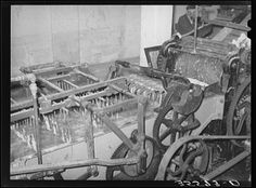 Part of wool scouring machine. The metal forks pull the wool ...