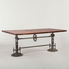 "Industrial 82"" Hand Crank Dining Table"