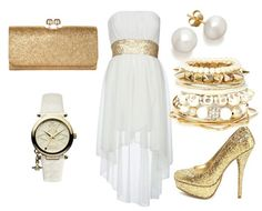 White and gold watch and dress with a gold clutch and pearl earrings. Love this outfit!