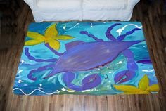 Blue Crab Island Art Area Rug by maremade on Etsy