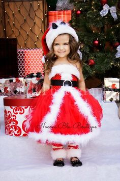 Christmas Mrs Claus Santa Tutu Dress Santa Hat and por NaomiBlu