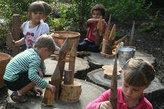 You mean I can have a block center outdoors?  Here they are building with loose parts and wood cookies.