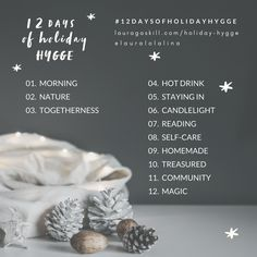 12 Days of Holiday Hygge :: Slow down and savor the season with photo + journaling prompts, inspiring podcasts, and a short series of emails designed to help you let go of stress and find your joy. #hygge #hyggehome #advent