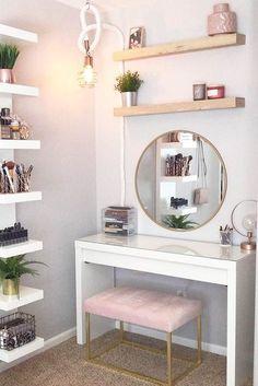 36 Most Popular Makeup Vanity Table Designs 2019 - WG-Zimmer - Furniture Makeup Table Vanity, Vanity Room, Vanity Ideas, Makeup Tables, Diy Vanity Table, Small Bedroom Vanity, Makeup Desk, Teen Vanity, Makeup Shelves
