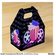 Bright Contemporary Movie Night Gable Favor Box Night Moves, About Time Movie, Favor Boxes, Christmas Card Holders, Hand Sanitizer, Corporate Events, Keep It Cleaner, Colorful Backgrounds, Card Stock