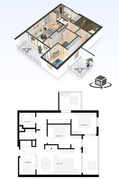 Luxury Apartments, Small Apartments, 2 Bedroom Apartment Floor Plan, Condo Floor Plans, Office Fit Out, Floor Plan Layout, Penthouse Apartment, 3d Home, Sims
