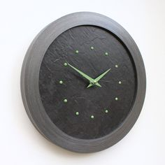 Slate Effect Wall Clock with Light Green Studs and Hands