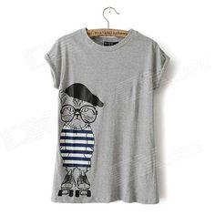 Cartoon Cat Printing Short-sleeve T-shirt - Gray (L)