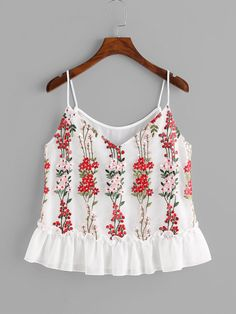 SheIn offers Blossom Embroidery Tulle Overlay Ruffle Cami Top & more to fit your fashionable needs. Cute Casual Outfits, Sexy Outfits, Fashion Outfits, Summer Outfits, Look Fashion, Girl Fashion, Straps Prom Dresses, Hi Low Dresses, Embroidered Clothes
