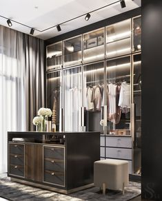 Wardrobe Room, Wardrobe Design Bedroom, Wardrobe Interior Design, Luxury Wardrobe, Luxury Closet, Office Interior Design, Luxury Interior Design, Modern Closet, Modern Wardrobe