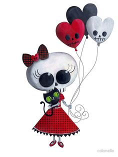 'Halloween Little Miss Death with Balloons' Sticker by colonelle Voodoo Doll Tattoo, Voodoo Dolls, Halloween Cards, Halloween Themes, Sugar Skull Art, Sugar Skulls, Sugar Art, Gothic Fantasy Art, Creepy Cute