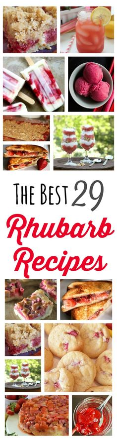 The 29 Best Rhubarb Recipes! The perfect recipes to showcase one of Spring& The 29 Best Rhubarb Recipes! The perfect recipes to showcase one of Spring& favourite flavours. Best Rhubarb Recipes, Rhubarb Desserts, Köstliche Desserts, Fruit Recipes, Sweet Recipes, Delicious Desserts, Dessert Recipes, Cooking Recipes, Yummy Food