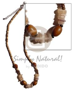 Native Surfer 2 Coco Heishe Tiger With Sq. Wood Bracelet, Shell Bracelet, Wood Necklace, Shell Jewelry, Wood Earrings, Shell Earrings, Shell Necklaces, Stone Jewelry, Beach Fashion
