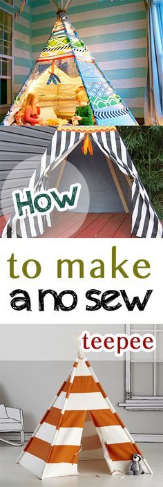 No sew teepee, no sew projects, craft projects, easy DIY, simple projects… Diy Tipi, Diy Kids Teepee, Sewing Projects For Kids, Sewing For Kids, Diy For Kids, Crafts For Kids, Weekend Projects, Easy Diy Projects, Craft Projects