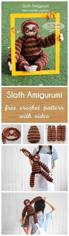 Sill, the sloth amigurumi free crochet pattern