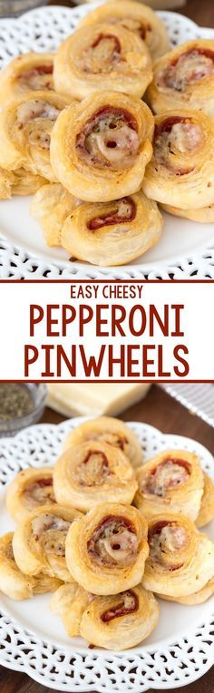 Easy Cheesy Pepperoni Pinwheels - this easy appetizer recipe tastes like mini pizza rolls! EVERYONE loves these and they're always the first to disappear at every party.