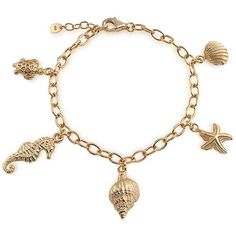Bling Jewelry Bling Jewelry Gold Vermeil Conch Seashell Starfish... (£56) ❤ liked on Polyvore featuring jewelry, bracelets, accessories, jewelry - bracelets, gold tone, sea shell jewelry, turtle charm bracelet, shell bangles, seahorse jewelry and nautical charm bracelet