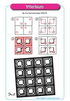 Ytterbium Tangle, Zentangle Pattern by Ina Sonnenmoser Tangle Doodle, Tangle Art, Zen Doodle, Doodle Art, Zentangle Drawings, Doodles Zentangles, Doodle Drawings, Easy Zentangle Patterns, Doodle Patterns