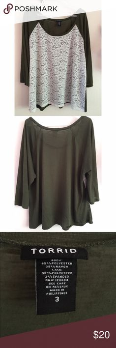 Olive Green Long Sleeve w/ White Lace This gorgeous olive green long sleeve offers a floral lace front. Super cute design and comfortable to wear. Only worn a couple of times so in great condition. torrid Tops Tees - Long Sleeve
