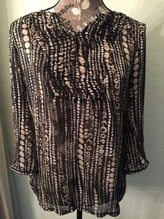 Chico's Black Shirt Top Semi Sheer 3 4 Sleeve Size 1 Pleated Front Detail | eBay