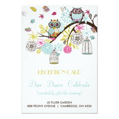 Spring Wedding Reception Colorful Owls and Falling Leaves Reception Card