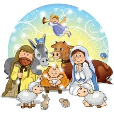 Holy Family with animals and background decorations-transparency and blending effects gradient mesh-EPS 10