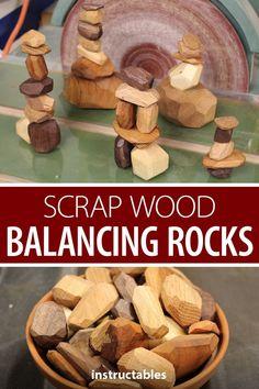 Make scrap wood balancing rocks for Tumi ishi, a Japanese game of stacking wooden rocks. Small Wood Projects, Scrap Wood Projects, Art Projects, Wooden Decor, Wooden Diy, Handmade Wooden, Wood Scraps, Woodworking Toys, Kids Woodworking Projects