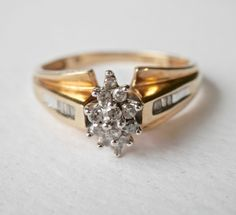 Vintage Diamond Ring, Vintage Engagement Ring, Gold Wedding Ring, 14K Gold, Marquise Setting, Diamond Baguettes, Size 7.5, Yellow Gold by TheJewelryChain on Etsy