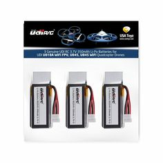 3 Genuine UDI RC 3.7V 350mAh Rechargeable Li-Po Batteries for USA Toyz UDI U818A WiFi FPV Quadcopter Drone (NOT COMPATIBLE WITH U818A or U818A HD or HD+)
