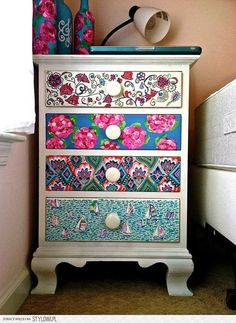 intentions on doing this with my own bedside table. just take out the drawers and start painting away (also super cute with quotes on each drawer)