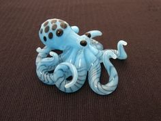 Small Glass Octopus pendant Sky Blue Spotted by EmergentGlassworks, $36.00