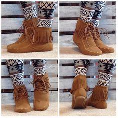 Shoes - LAST 9! Boho fringe Moccasin Booties