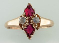 Vintage Antique 1.20ct Ruby & Moonstone 14K Yellow Gold Victorian Cocktail Ring GENUINE ANTIQUE OVER 140 YEARS OLD