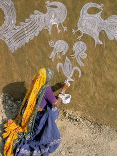 Woman Painting Designs on Her House, Tonk Region, Rajasthan State, India Photographic Print