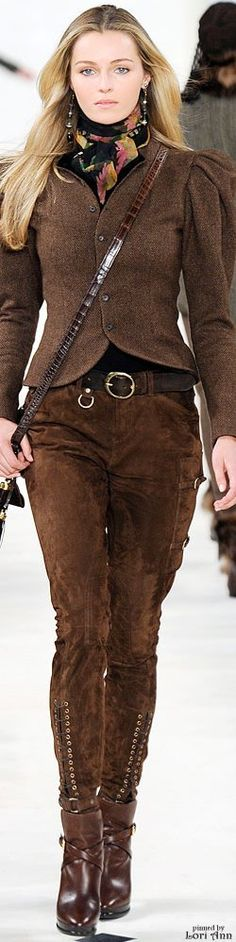Ralph Lauren ~ Fall Brown Suede Trousers + Boots 2010