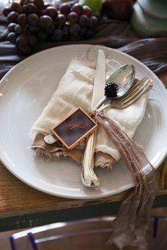 Purple and bronze wedding table details. Art Inspires Life Shoot - Part 2 - McKenzie-Brown Photography Bronze Wedding, Wedding Table, Wedding Decorations, Weddings, Purple, Wedding Dresses, Brown, Tableware, Photography