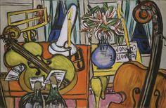 Max Beckmann (German, 1884 – 1950)   Still Life with Cello and Bass Fiddle (Stillleben mit Cello und Bassgeige), 1950   Oil on canvas, 91,8 x 139,6 cm