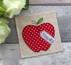 A Red Apple Gift, Apple Coaster, Thank You Gift, Teacher Gift, Drink Coaster, Desk Coaster, Fabric Coaster, Gift For Her, Gift For Him by TheCornishCoasterCo on Etsy
