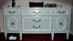 two-tone paint finish on this buffet renovation via Better After blog and from Deanne at My Second(hand) Life