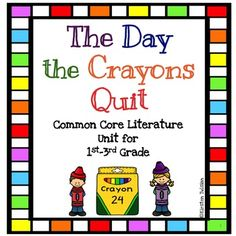 This Common Core aligned activity pack goes with the book, The Day the Crayons Quit by Drew Dewalt. You will find activities and/or task cards for the following topics: compare and contrast, character traits, main idea/comprehension, adjectives, writing a friendly letter, writing and opinion piece, types of sentences, verb tenses, and editing.