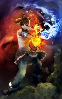 youngjusticer: Firebending + waterbending = steambending. The Legend of Korra, by Wenqing Yan.