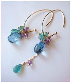 Blue Topaz & Emerald Earrings