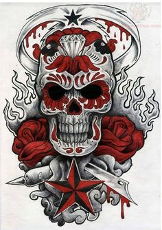 Creepy sugar skull tat Intense black and white sugar skull tattoo design with red roses, flames, stars, a diamond and a sword in the background. Tattoo Outline Drawing, Outline Drawings, Sugar Skull Tattoos, Sugar Skull Art, Sugar Skulls, Arte Punk, Badass Skulls, Totenkopf Tattoos, Skull Artwork