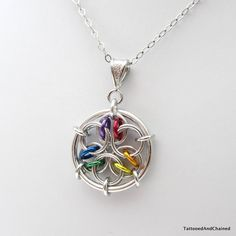Rainbow chainmaille pendant acute mandala by TattooedAndChained, $15.00