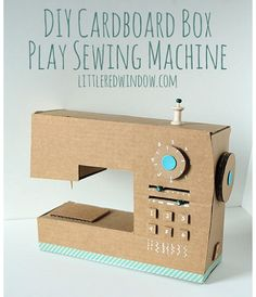Tutorial: DIY cardboard box play sewing machine (an awesome toy idea to surprise the kids with)