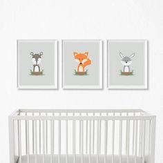 Woodland Nursery Set - Woodland Nursery Decor, Nursery Decor, Fox Decor, Woodland Animals, Animal Nursery, Nursery Art, Woodland Nursery Art