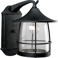 Progress Lighting P5764-71 Prairie One Light Wall Lantern with Seeded Clear Glass and Iron Finish